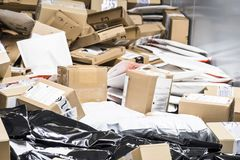Huge amount of parcels on conveyor Stock Photos