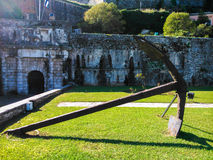 Huge anchor in Corfu. A huge anchor that is located in the walls of the New fortress Royalty Free Stock Images
