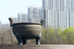 Tripod cauldron stock photo
