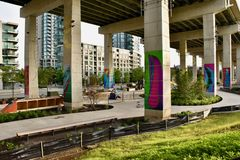 Revitalizing Underused Urban Spaces. The huge area beneath the elevated expressway in downtown Toronto being transformed from urban blight into vibrant public royalty free stock photos