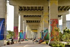 Revitalizing Underused Urban Public Spaces. The huge area beneath the elevated expressway in downtown Toronto being transformed from urban blight into vibrant stock photos
