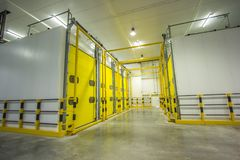 Huge areas for storage of banana and fruits, storage rack. royalty free stock image