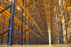 Huge areas for storage room with vertical storage stock photos