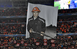 Huge banner of Shakhtar fans Royalty Free Stock Photos