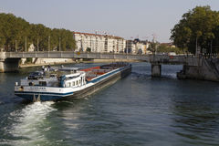 A huge barge in Lyon Stock Photography
