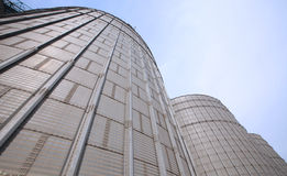 Huge barn. Large metal cans to store goods Royalty Free Stock Image