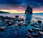 Huge basalt stack Hvtserkur on the eastern shore of the Vatnsnes Royalty Free Stock Image