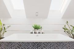 Huge bathtub in modern bathroom Royalty Free Stock Photo