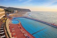 A huge beautiful pool on the beach Stock Image