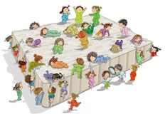Huge bed with children Stock Photos