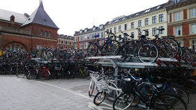 Huge Bicycle Parking in Copenhagen near the Central train station Denmark. Huge Bicycle Parking in Copenhagen near the Central train station Royalty Free Stock Image