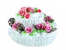 Huge birthday cake. On white background Royalty Free Stock Photography