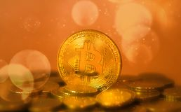 Huge bitcoin crypto currency coin. On other coins business concept Royalty Free Stock Images