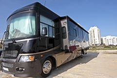 Huge black camper in the Algarve Port Royalty Free Stock Image