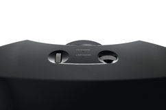 Huge black home cinema projector, close up on focus dial Royalty Free Stock Photos