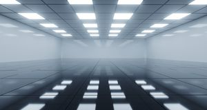 Huge Black And White Empty Room With Square Lights On Ceiling An. D Reflective Floor. 3D Rendering Illustration royalty free illustration