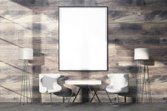 Huge blank frame on wood Stock Image