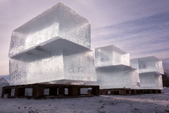 Huge blocks of clear ice severed for ice sculpture Stock Images