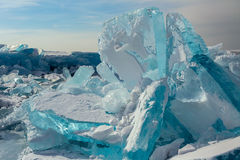 Huge blocks of ice. Beautiful winter landscape in the Lake Baikal Royalty Free Stock Photography