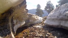 Huge blocks of ice melting in the spring. Siberia. stock video