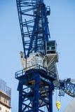 Huge blue construction crane Westfield World Trade Center sight. Huge blue construction crane Westfield World Trade Center Royalty Free Stock Photography