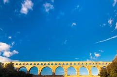 Huge blue sky over Pont du Gard Royalty Free Stock Photos