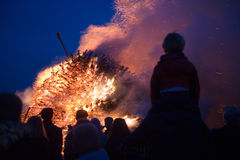 Huge bonfire with easter stock photography