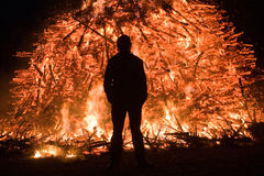 Huge bonfire with easter Stock Photo