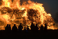Huge bonfire with easter Royalty Free Stock Photo