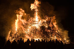 Huge bonfire with easter Royalty Free Stock Images