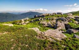 Huge boulders on the edge of hillside Royalty Free Stock Image