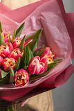 A huge bouquet of delicate pink tulips royalty free stock photo