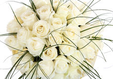 A huge bouquet of white roses. The isolated image on a white background. Cream colored roses. Stock Photo
