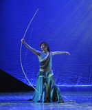 A huge bow-The dance drama The legend of the Condor Heroes. In December 2, 2014, a large Chinese dance drama the legend of the Condor Heroes for the first time Royalty Free Stock Photos