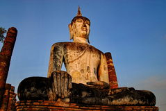 Huge buddha statue Sukhothai national park Royalty Free Stock Image
