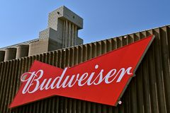 Huge Budweiser advertising sign. MOORHEAD, MINNESOta, July 22, 2017: Anheuser-Busch sponsored Grower Days honoring farming who grow barley for the malting Stock Photo