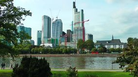 Huge Buildings and the River stock footage