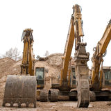 Huge Bulldozers. Used to dig and move earth Royalty Free Stock Photo