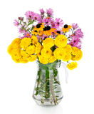 Huge bunch of white and yellow autumn flowers Stock Images