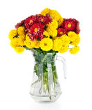 Huge bunch of yellow and red autumn chrysanthemum flowers