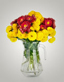 Huge bunch of yellow and red autumn chrysanthemum flowers Royalty Free Stock Photos