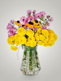 Huge bunch of yellow and red autumn chrysanthemum flowers Stock Images