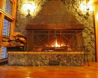 Huge burning fireplace Royalty Free Stock Image