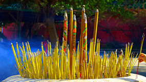 Huge burning incense sticks Royalty Free Stock Photos
