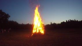 Huge campfire stock footage