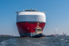 Huge car carrier Drive Green Highway is sailing to the lock. Royalty Free Stock Photography