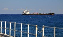 Huge cargo ship. Waiting at port Royalty Free Stock Photography