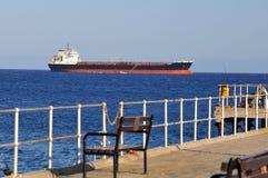 Huge cargo ship. Waiting at port Royalty Free Stock Photos