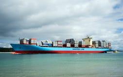 Huge cargo ship Maersk Line in Pilot bay, Mount Maunganui, New Z. Mount Maunganui, Tauranga, New Zealand - October 4, 2016: Huge cargo ship Maersk Line in Pilot stock photography