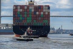 Huge Cargo Ship. Savannah, Georgia USA -- November 9, 2014 A Giant Cargo Ship steams up the Savannah River. Editorial Use Only Royalty Free Stock Photography
